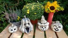 keramické hallowenské dekorace v režném provedení