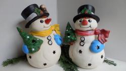 sněhulák malý světelná keramická dekorace